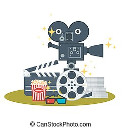cinema object set - Cinema concept poster template with ...