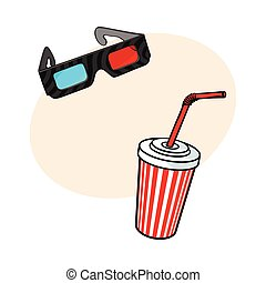Cinema objects - 3d glasses and soda water in paper cup