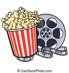 Cinema objects - popcorn in red and white striped bucket and retro style film reel, sketch vector illustration isolated on white background. Popcorn bucket and film reel, cinema attribute, object