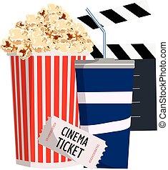 cinema., objekt, popcorn, biljett, och, soda.