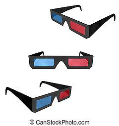 cinema, occhiali, 3d