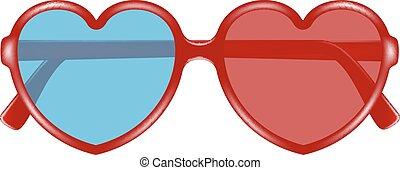 cinema, occhiali, forma, di, cuore