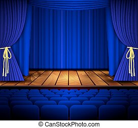 Cinema or theater scene with a curtain.