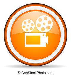 cinema orange glossy circle icon on white background