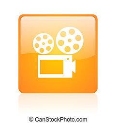 cinema orange square glossy web icon