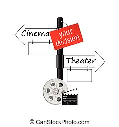 cinema, ou, teatro, ícone, vetorial