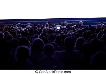 cinema, pessoas, observar