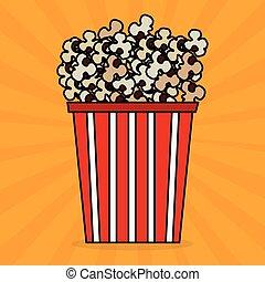 cinema pop corn entertainment icon vector illustration...