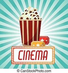 cinema pop corn tickets blue stripes background