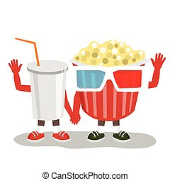 cinema pop corn with 3d glasses and cola character friends holding hands together and waving
