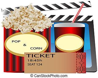 cinema popcorn and soda, movie ticket, Popcorn, soda & ...