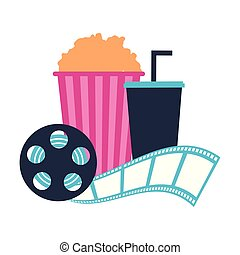 cinema popcorn and soda reel strip movie film
