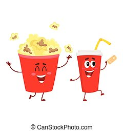 Cinema popcorn and soda water characters with smiling human faces