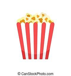 Cinema popcorn box icon, flat style