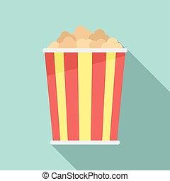 Cinema popcorn icon, flat style