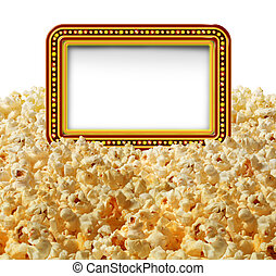 Cinema popcorn with a blank movie marquee sign as an entertainment communication symbol for TV shows or theater performances isolated on a white background.
