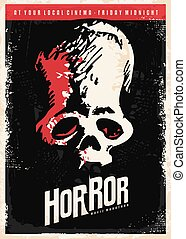 Cinema poster design for horror movies. Skull drawing on...