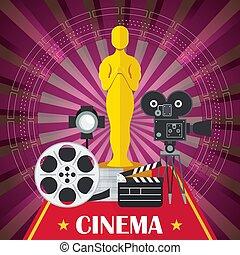 cinema poster with award - Main award of film academy, film...