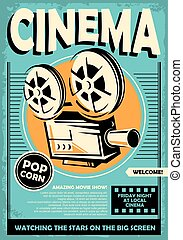 Cinema poster with movie projector camera graphic on retro ...