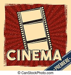 cinema premiere festival poster retro with film strip