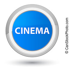 Cinema prime cyan blue round button