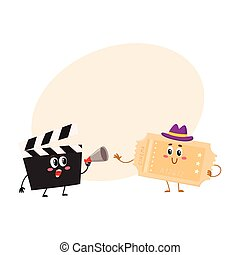 Cinema production clapperboard, movie ticket characters with smiling human faces
