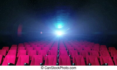 lights from film projector - cinema public seats with lights...