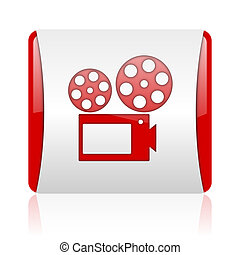 cinema red and white square web glossy icon