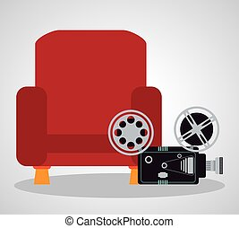 cinema red chair comfortable film camera