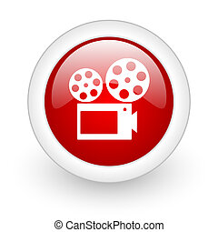 cinema red circle glossy web icon on white background