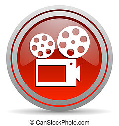 cinema red glossy icon on white background