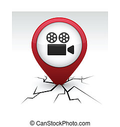 Cinema red icon in crack.
