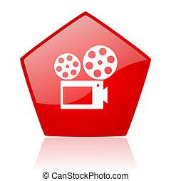 cinema red web glossy icon