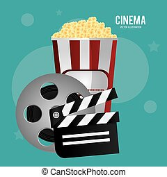 cinema reel film pop corn clapper movie