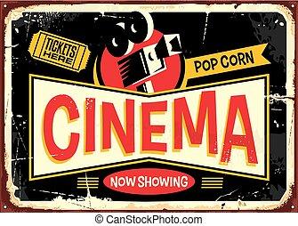 Cinema retro tin sign vector design