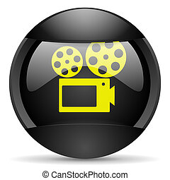 cinema round black web icon on white background