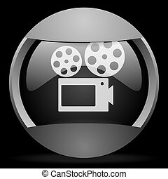 cinema round gray web icon on black background