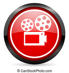cinema round red glossy icon on white background