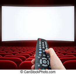 cinema, schermo, con, telecomando, in, mano