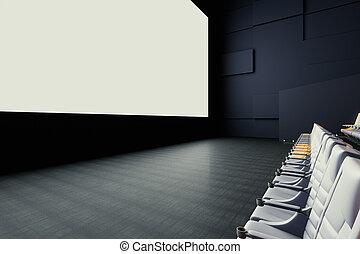 Cinema screen and seats side