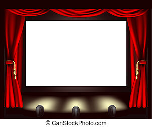 Cinema screen - Illustration of cinema screen, lights and...