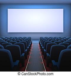 Cinema Screen - Inside of the cinema. Several empty seats...