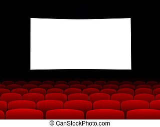 Cinema screen with empty seats