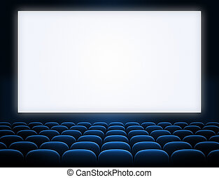 cinema screen with open blue seats