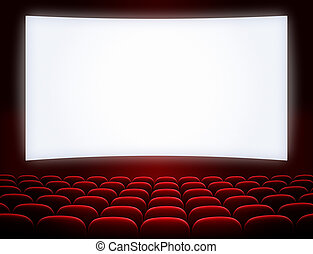 cinema screen with open red seats