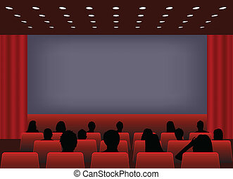 Cinema screening - vector illustration of a people in cinema...