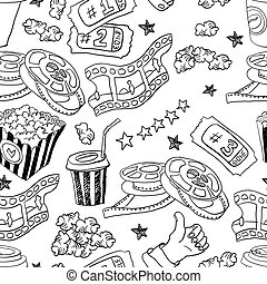 Cinema seamless pattern. Vector doodles background