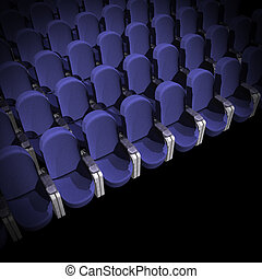 Cinema Seat - blue Seat at Movie Show (3D image)