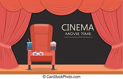 cinema, seat., posto, teatro
