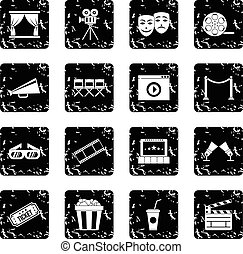 Cinema set icons, grunge style